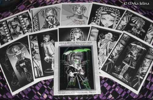 Myka Jelina Art Coloring Pages Scifi Cybergoth Fairy Android Robot Grayscale