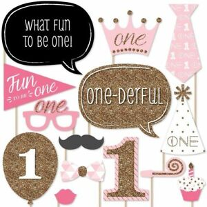 20 X 1st Large Photo Booth Props Moustache Girl Birthday Party Kit