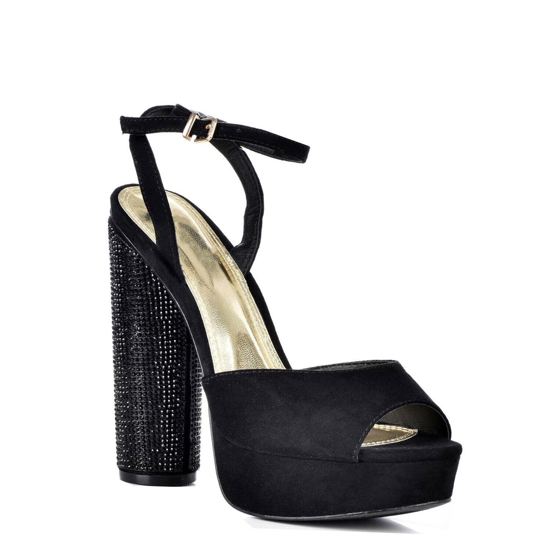 NEW Liliana JAM-1 Ankle Strap With Rhinestone Heels