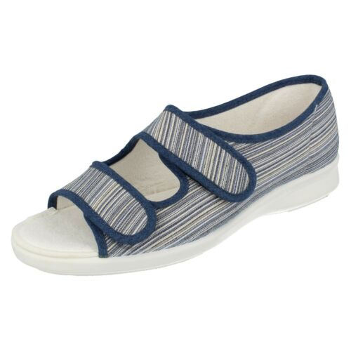 Ladies Lilac Floral Navy Stripe Canvas Open Toe Easy B Summer Sandals Cora