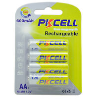 12 Nimh Aa Batteries 600mah 1.2v Nimh 2a Rechargeable Battery Pkcell - 12 Count