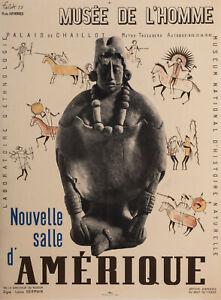 Affiche Originale - Falck Jarl - Musée de L'homme - Amérique - Paris - 1939