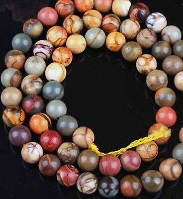8mm Picasso Jasper Round Loose Beads 15""