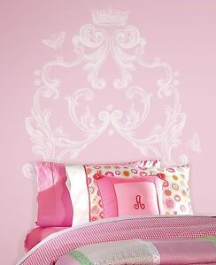 SCROLL-HEADBOARD-WALL-MURAL-DECALS-Princess-Crown-Stickers-White-Room-Decor