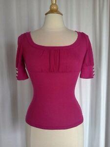 SIZE-S-JUNIOR-26-50-WET-SEAL-Short-Sleeve-Fuchsia-Pink-Rib-Knit-Sweater-Top