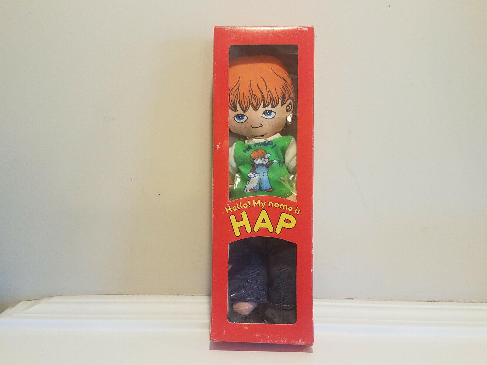 Vintage mi nombre es HAP 12  Suave Juguete Muñeca de Trapo  1979 Susan Perl con caja