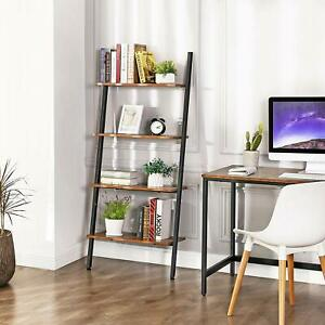 Wooden Ladder Shelf 4 Tier Bookshelf Storage Rack Stacked Wall Shelves Decor Ebay