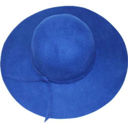 Vintage Women Wide Brim Floppy Warm Wool-look//effect Hat Trilby Bowler Cap