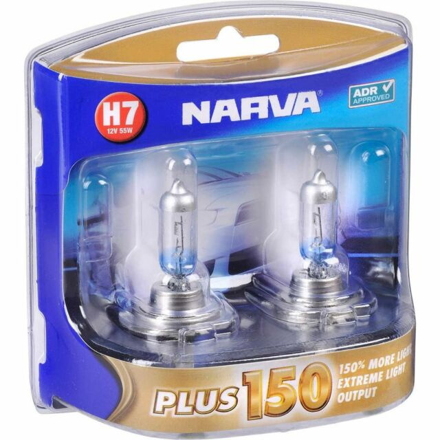 NARVA H7 +150% PLUS 150 HALOGEN LIGHT BULBS GLOBES NEW 12V 48382BL2