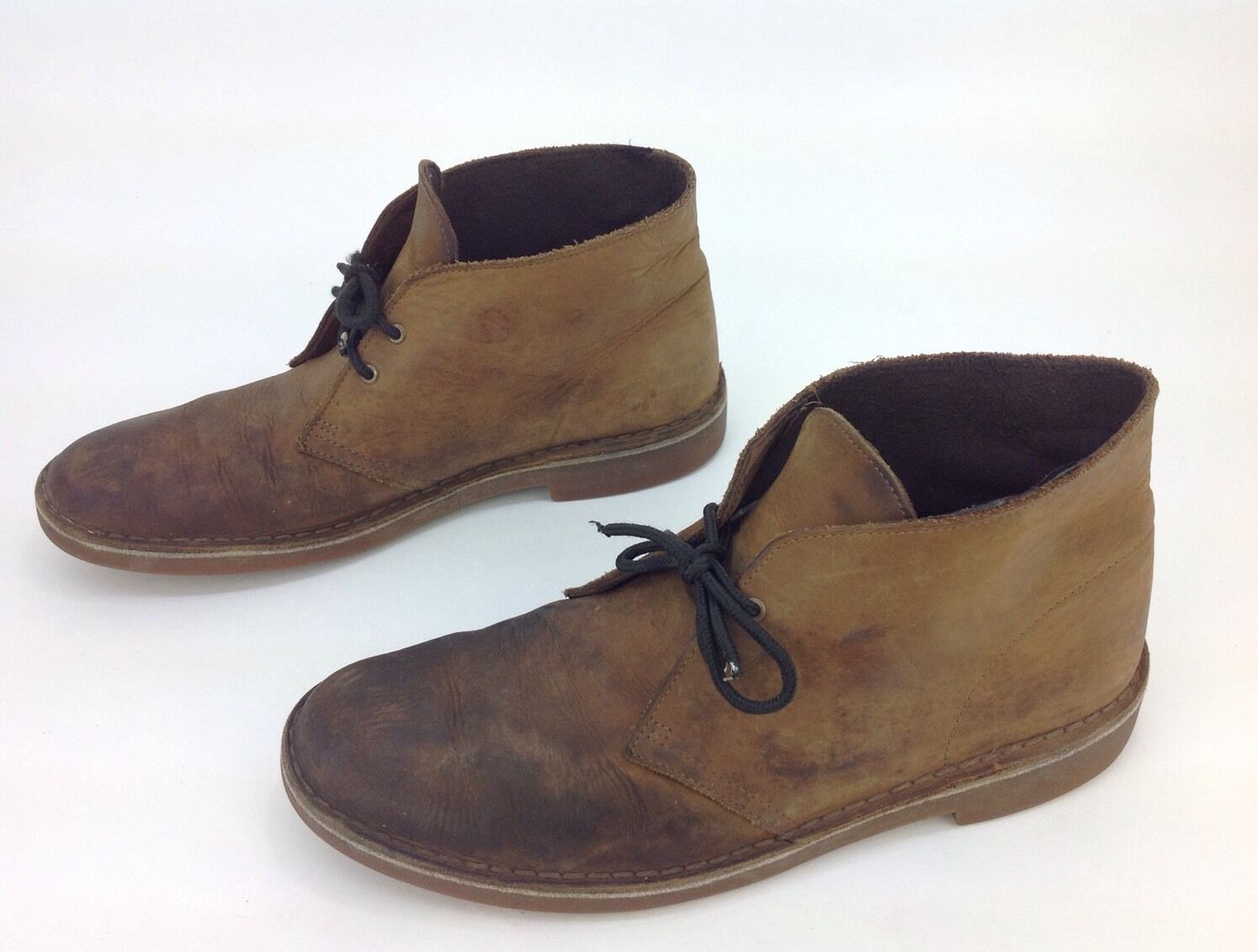 Men's Clarks Brown Leather 2Eye LaceUp Ankle Desert Boots Sz.10.5