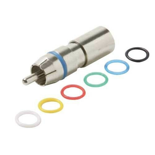 Eagle RCA Compression Connector RG6 Coaxial 6 Color Bands Male Coax Nickel