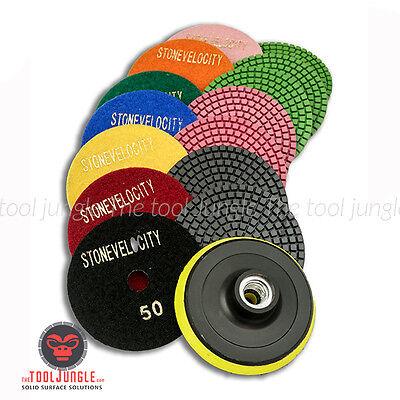 50#-6000# QJFCare 11 Pcs Diamond Polishing Pads 4 inch Wet//Dry Kit, Hook and Loop Backer Pad Grit Pads /& Sanding Sponge 600# Grit Pad /& 5//8-11