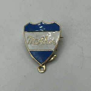 Vintage MOTHER Lapel Pin Light Blue + White Shield Sweetheart   M6