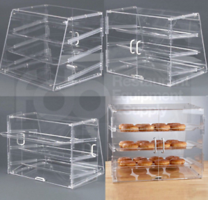 Image is loading NEW-3-Tray-Bakery-Counter-Display-Case-Rear- & NEW 3 Tray Bakery Counter Display Case Rear Door Donut Pastry Cookie ...