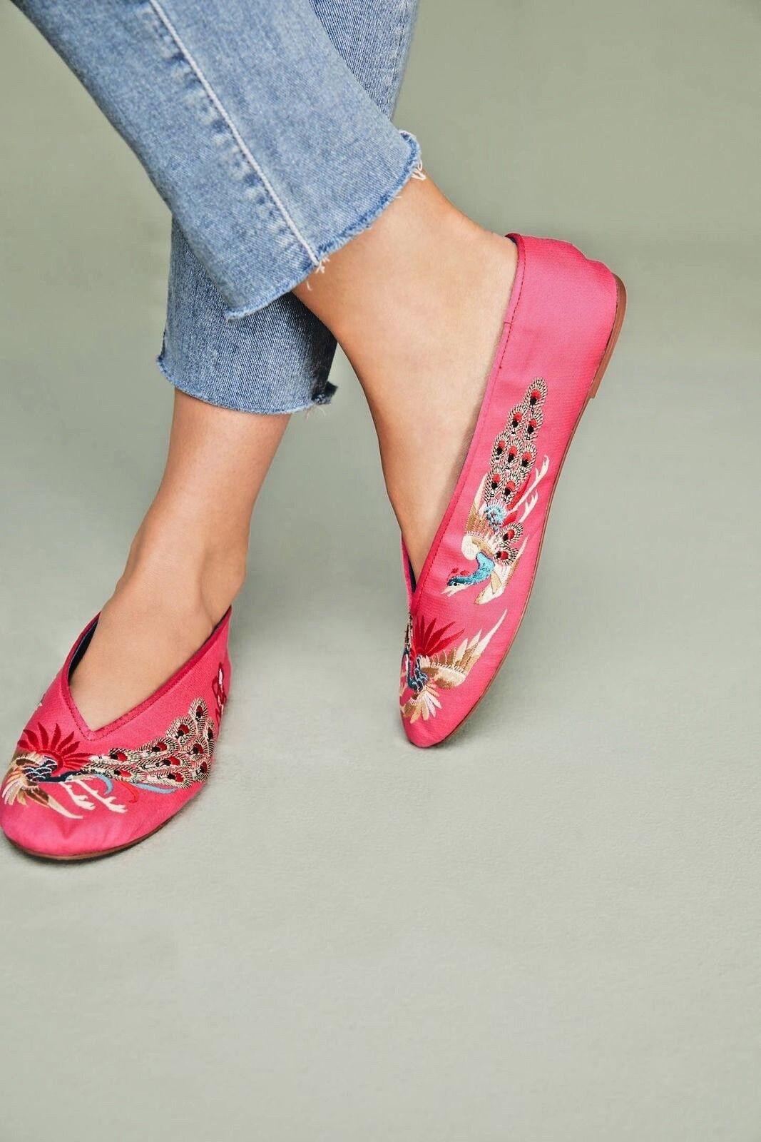 ANTHROPOLOGIE NEW LLANI Embellished Satin Bead Ballet chaussures rose Flats Sz 8