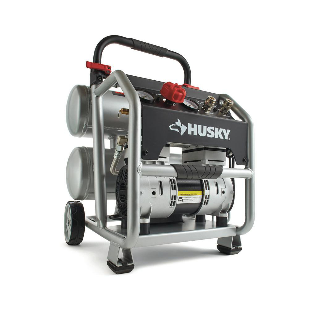 Husky Portable Electric-Powered Silent Air Compressor 4.5 Gal.. Buy it now for 237.11
