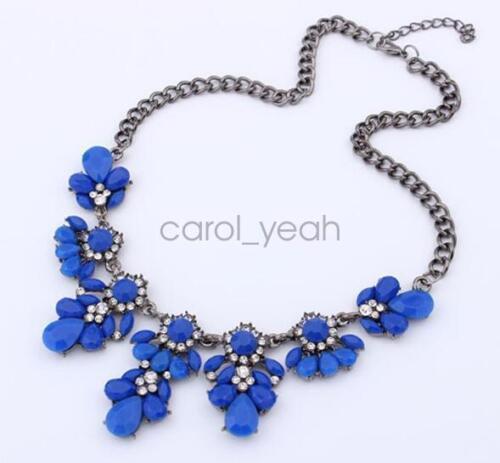 Women Bohemia style Statement Bib Pendant Flower Choker Chunky Necklace Jewelry