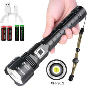 990000LM XHP90.2 LED Flashlight USB Rechargeable 18650 26650 Zoom Torch Light