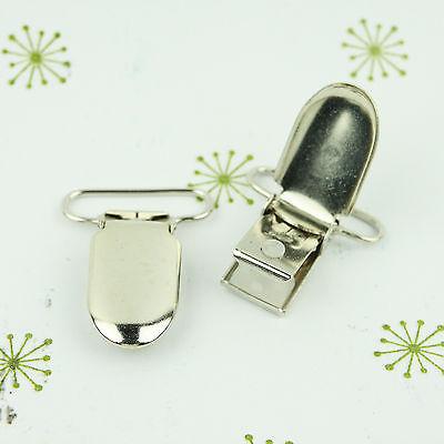 Duck Bill Pacifier Clips/ Suspender Clip 1 INCH Oblong Metal Dummy/Paci Holder