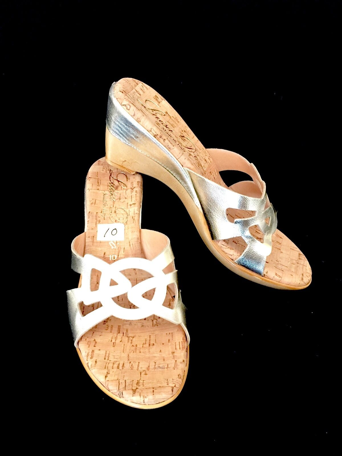 Luisa D'orio gold Wedge Sandals  NEW  10 M
