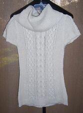 BCBG Max Azria Cream Wool Blend Knit Turtleneck Sweater Dress Misses Medium
