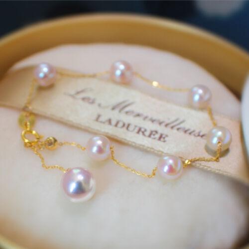 elegant AAA 5-5.5mm nature Akoya white round pearl 18k solid gold bracelet