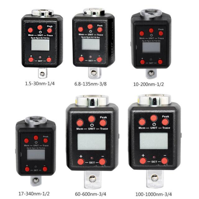 Digitaler Drehmomentschlüssel 1,5~1000nm Adapter 1//4、3//8、1//2、3//4 Microtorque