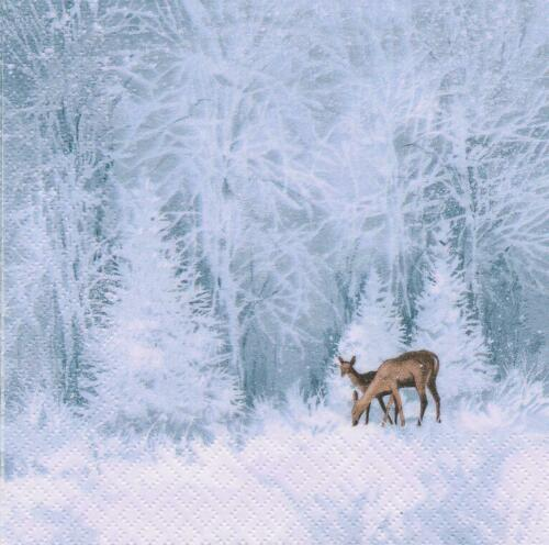 4 Design Servietten Winter Landschaft  Wald 3-lagig 33 x 33 cm Serviettentechnik
