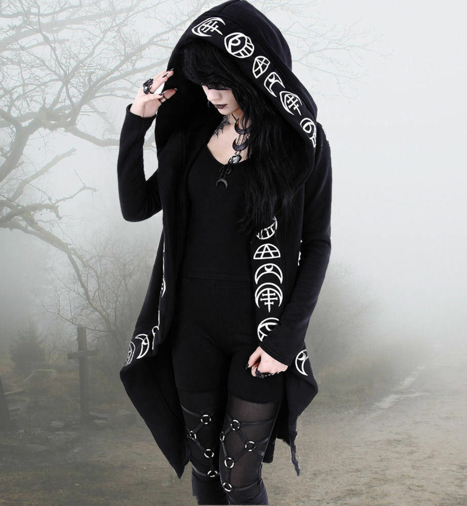 gothique occulte Femmeteau veste Restyle Kimono Mond Mond Mond lune Pull à capuche M L XL S 50be48