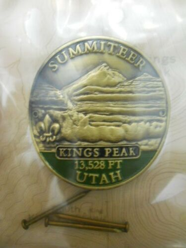BOY SCOUT KINGS PEAK UTAH SUMMITEER HIKING STAFF MEDALLION #24101 NEW IN PACKAGE