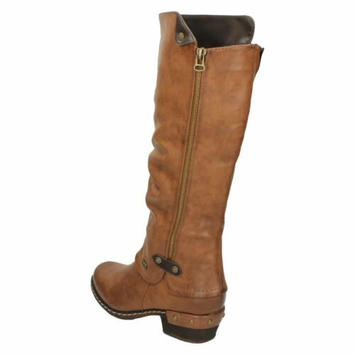 Ladies Rieker 93655 Casual Synthetic Warm Lined Long Zip Up Boots