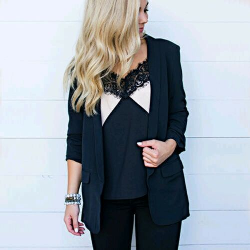 Damen Business Blazer Sakko Anzugjacke Mode Winterjacke Strickjacke Mantel Coat