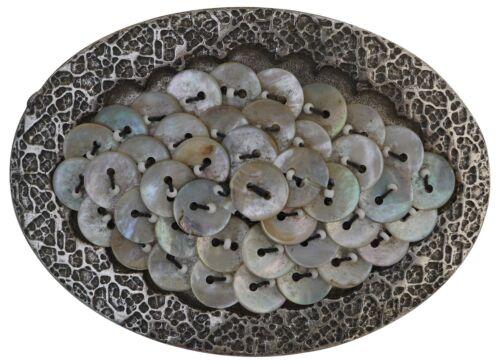 FRONHOFER Große Gürtelschnalle in altsilber mit Verzierungen und Pailletten 4cm