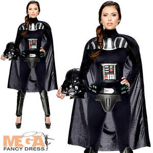 darth vader ladies fancy dress star wars movie villain womens adults costume ebay. Black Bedroom Furniture Sets. Home Design Ideas