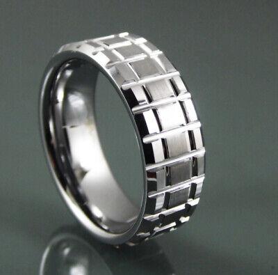 100% Wahr Wolframkarbid Ring Herren Damen 8mm Quadratischer Schnitt Gebürstet & Poliert