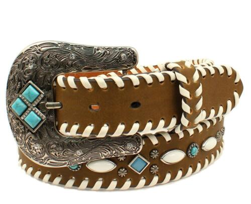 Nocona Western Womens Belt Leather Laced Ivory Nailhead Turq Brown N3412802