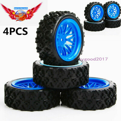 110 RC Rally Racing Off Road Car Rubber tires Tyre & 12mm Hex Wheel Rim Set | eBay
