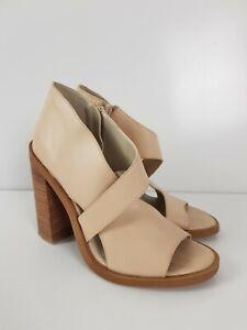 WINDSOR-SMITH-Nude-Leather-Block-Heel-Ankle-Sandal-TRINITY-Boot-Women-039-s-Size-US8