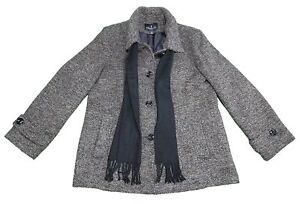 NEW-London-Fog-Ladies-X-Large-Tweed-Peacoat-w-Scarf-Brown-Tweed