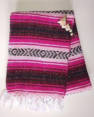 Mexican Falsa Blanket Southwest Blue on Blue Black Aztec lines strips  XL