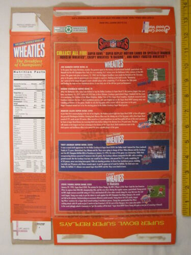 Z202c8 Empty WHEATIES Box 1996 18oz SUPER BOWL VI REPLAYS ROGER STAUBACH