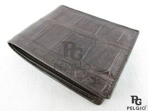 PELGIO-Genuine-Crocodile-Alligator-Belly-Skin-Leather-Luxury-Bifold-Wallet-Brown