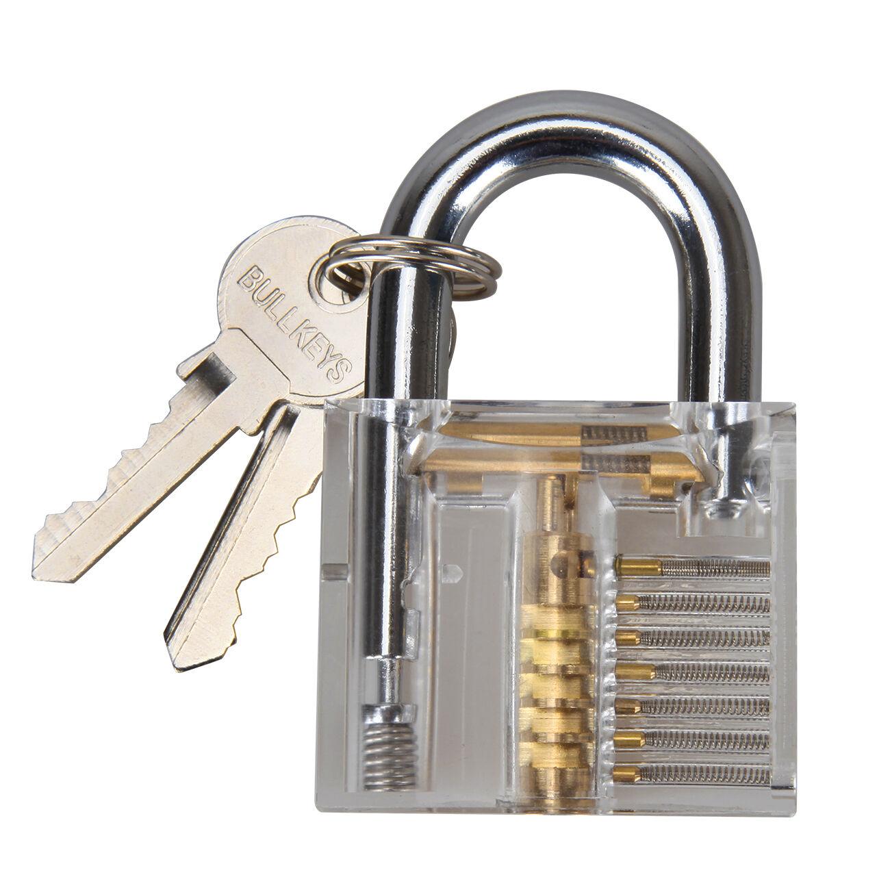 Practice Transparent Cutaway Visable Padlock Training Skill Pick Lock 10pcs Lockpick Tool Set Norton Secured Powered By Verisign