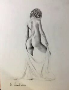 Details About Nude Drawing Painting Original Female Model Pin Up Art Large Sensual Artwork