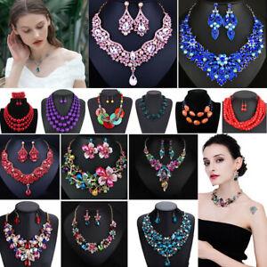 Women-Bohemian-Choker-Chunk-Crystal-Statement-Necklace-Wedding-Jewelry-Set