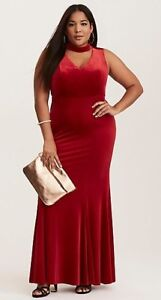 Torrid-Special-Occasion-Red-Velvet-Cutout-Neck-Gown-Dress-20-NWT-NIP