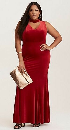 Torrid Special Occasion Red Velvet Cutout Neck Gown Dress 20 NWT NIP