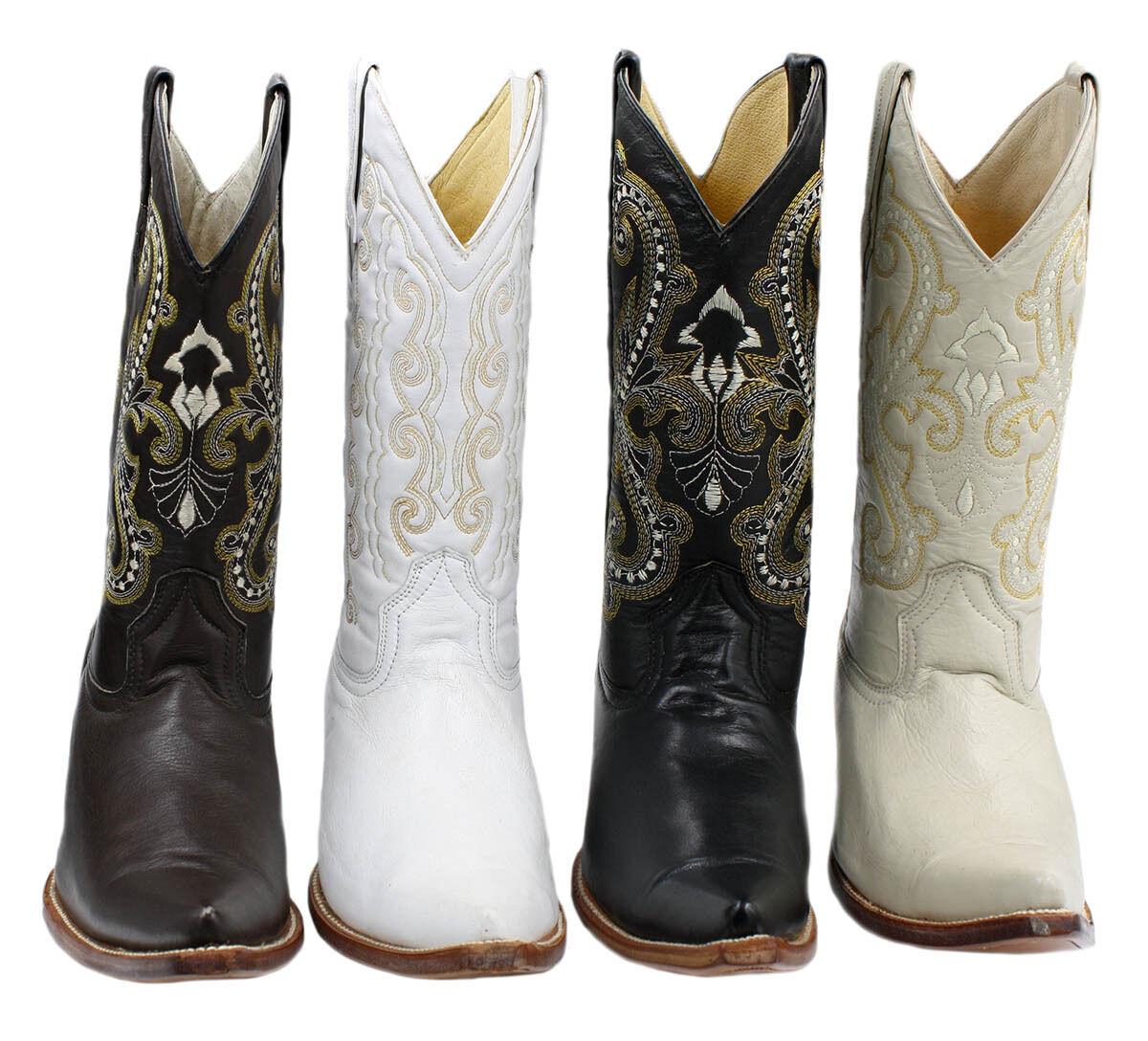 Para hombres cuero genuino botas Western Cowboy 3x Liso