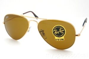 c23048ca273341 Ray Ban 3025 001 33 Aviator Gold Brown B15 New Authentic Sunglasses ...