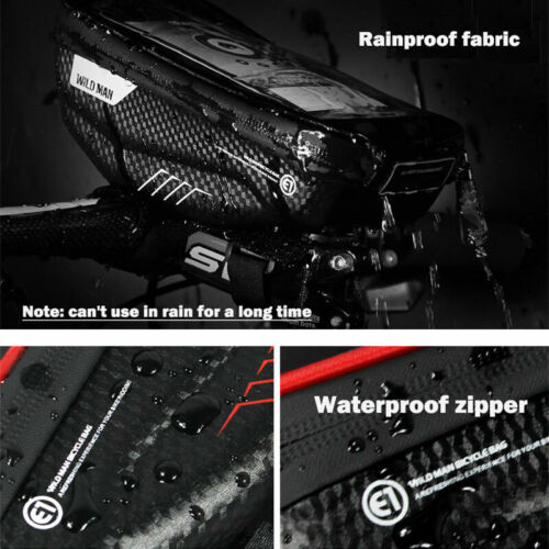 """Waterproof Touch Pouch Bike Bicycle Handlebar Bag For iPhone 78X 6.5/"""" Cell Phone"""